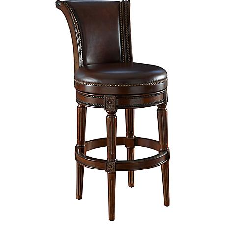 "Xander 24"" Mocha Top Grain Leather Swivel Counter Stool"