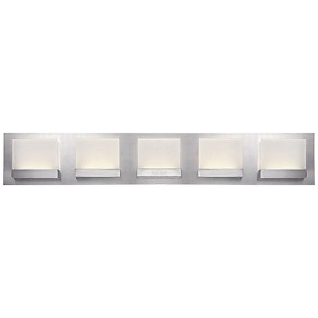 "Eurofase Harmen 30"" Wide Frosted 5-LED Nickel Bath Light"