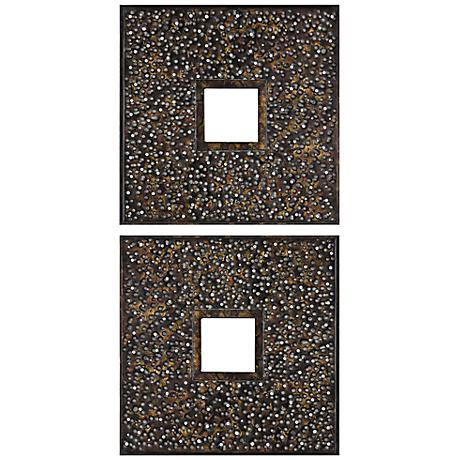 "Maritsa Hammered Bronze 21"" Square Wall Mirror Set of 2"
