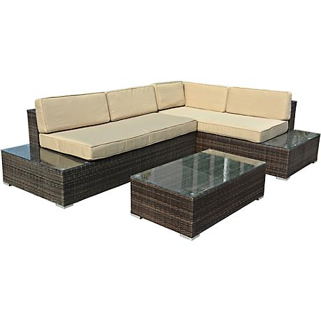 Sandestin Brown Wicker 3-Piece Outdoor Sectional Sofa Set