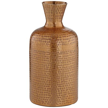 "Eldora 12 1/2"" High Copper Hammered Metal Vase"