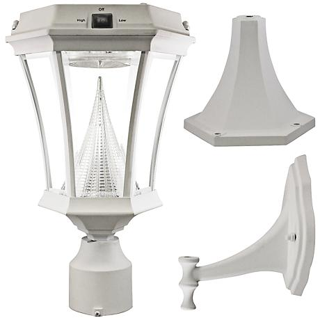 "Victorian White 15"" High Tri-Mount Bright LED Solar Light"
