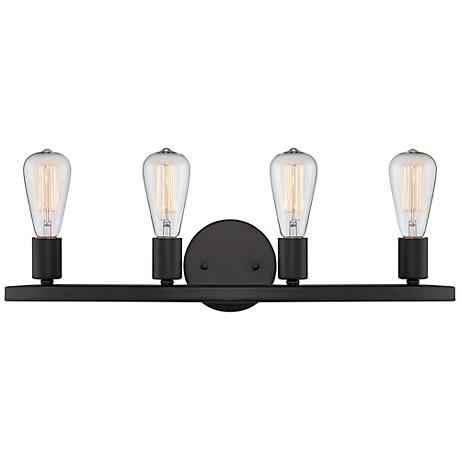 "Lacey 24"" Wide 4-Light Black Bath Light"