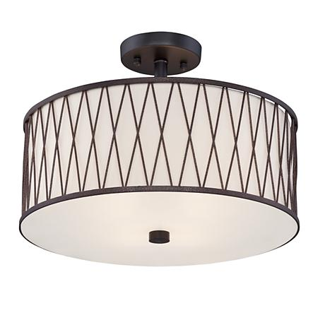 "Wade 15 1/2"" Wide Black Iron Trellis Ceiling Light"