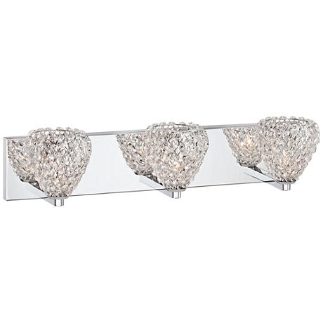 "Possini Euro Liliana 25"" Wide 3-Light Crystal Bath Light"