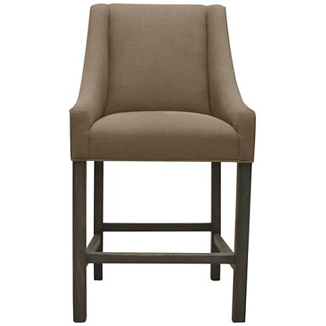 "Avoca Brown Linen 30"" Wood Barstool"