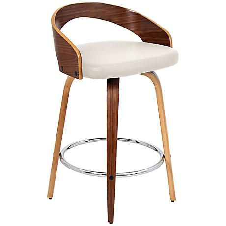 Gratto 24 Quot Cream Faux Leather And Walnut Counter Stool
