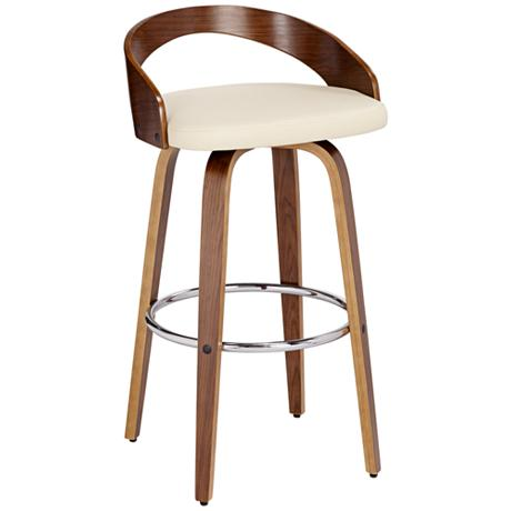 Gratto 29 1 4 Quot Cream Faux Leather And Walnut Barstool