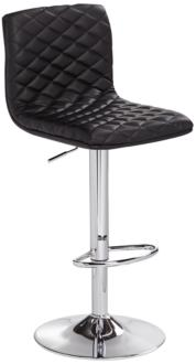 Caviar Chrome and Black Faux Leather Adjustable Barstool (8F711) 8F711
