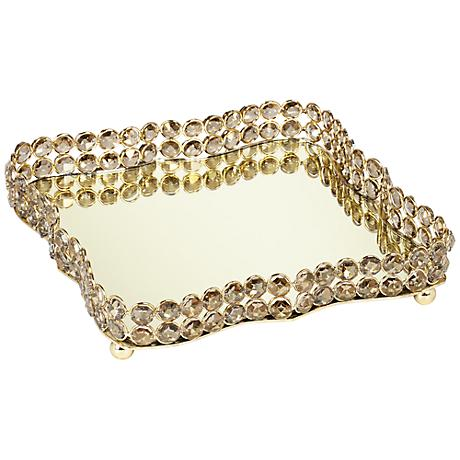 Geneva Mirror and Crystal Decorative Tray