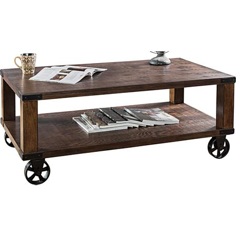 Veria Industrial Modern Wheeled Dark Oak Coffee Table