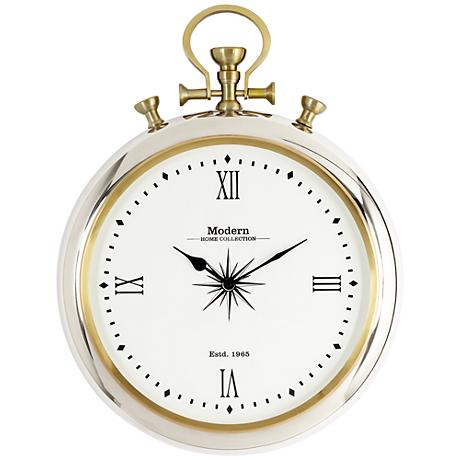 "Belridge Chrome Pocket Watch 22"" High Wall Clock"