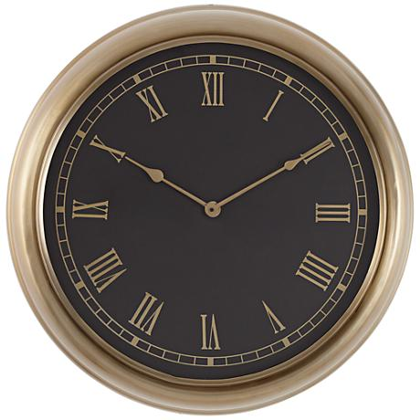 "Galway Black and Gold 21 1/2"" Round Wall Clock"