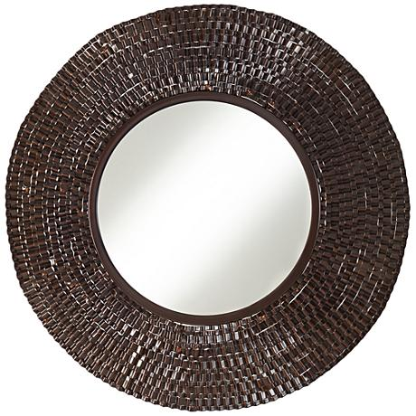 "Brigdon Crinkle Brown 24"" Round Wall Mirror"