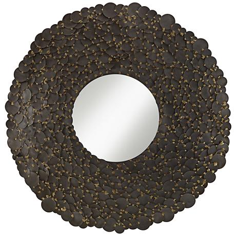 "Jeannette Pewter Gray Hammered Discs 30"" Round Wall Mirror"