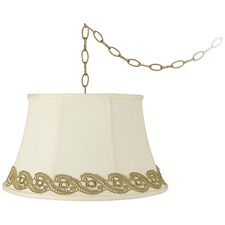 "Creme Bell with Vine Lace Trim 19""W Brass Swag Chandelier"