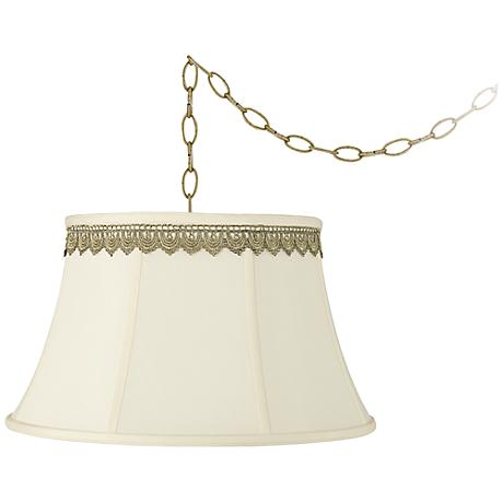 "Creme Bell and Scallop Lace Trim 19""W Brass Swag Chandelier"