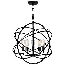 "Ellery 24 3/4"" Wide LED 5-Light Bronze Sphere Pendant"