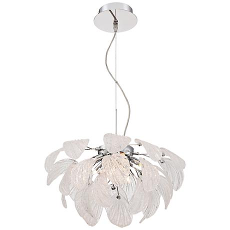 "Possini Euro Bardot 18"" Wide Piastra Glass Leaf Chandelier"
