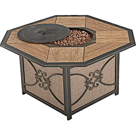 Lowell Bay Bronze Finish Outdoor Fire Table