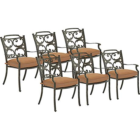 Lowell Bay Bronze Outdoor Dining Chair Set of 6