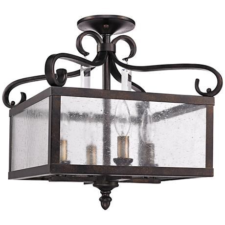 "Valencia 13 1/2""W Fired Bronze Convertible Ceiling Light"