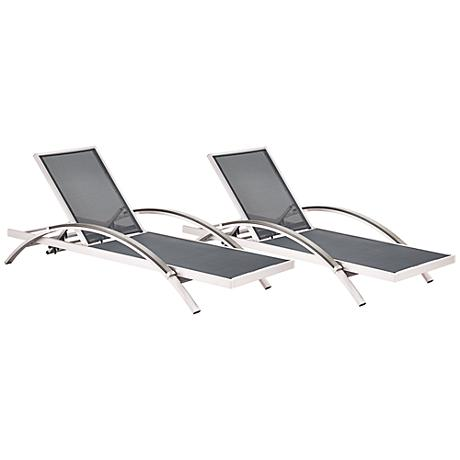 Zuo Metropolitan Mesh Steel-Arm Outdoor Aluminum Chaise