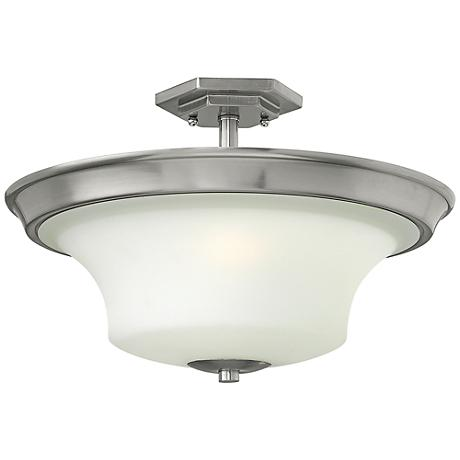 "Hinkley Brantley 17""W Brushed Nickel Ceiling Light"