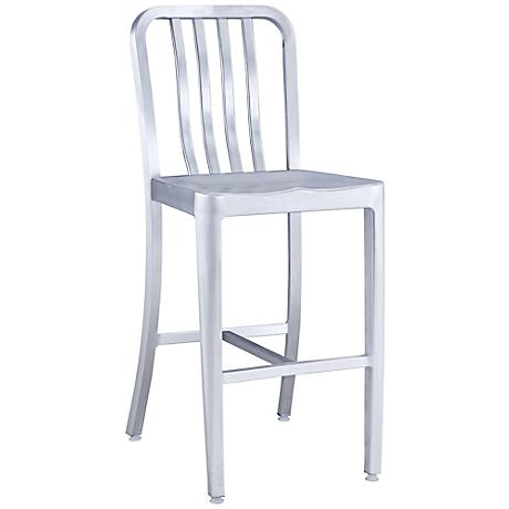 "Zuo Gastro 24"" Brushed Aluminum Outdoor Counter Chair"