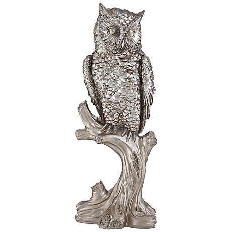 "Owl Resting on a Perch 16"" High Statue"