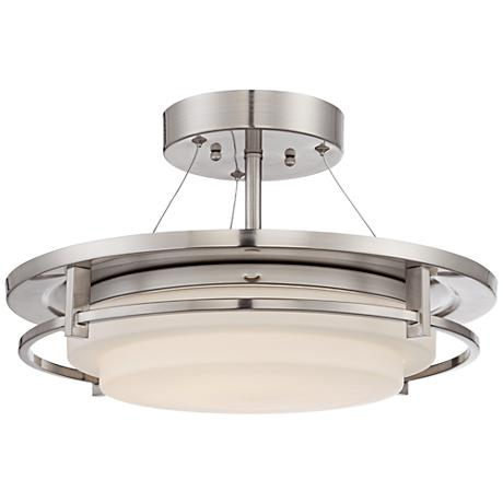 "Double Ring 17 3/4"" Wide Brushed Nickel Ceiling Light"