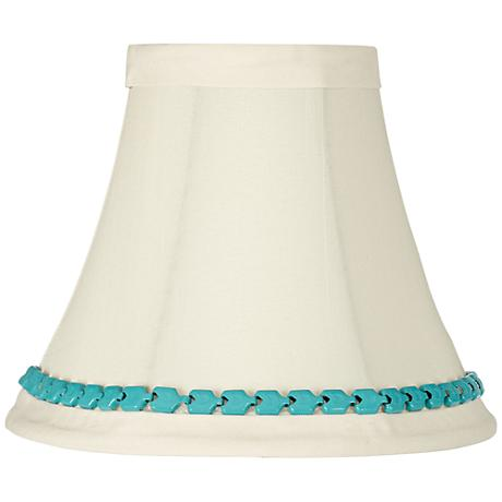 Cream Bell Shade with Turquoise Metal Trim 3x6x5 (Clip-On)