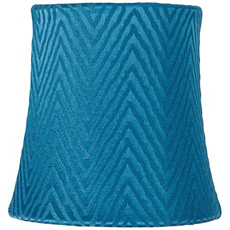 Teal Blue Zig Zag Lamp Shade 4x5x5 (Clip-On)