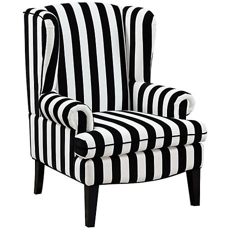 Paris Black and White Velvet Wingback Occasional Chair