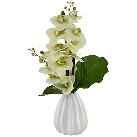 Faux Orchid Floral Arrangement in Ceramic Pot