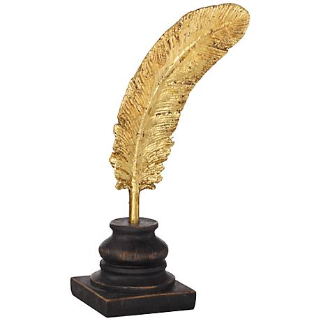 "Gold Leaf Feather 10"" High Figurine"