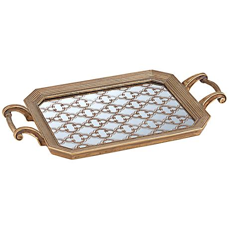 Victoria Tile Design Gold Rectangular Tray
