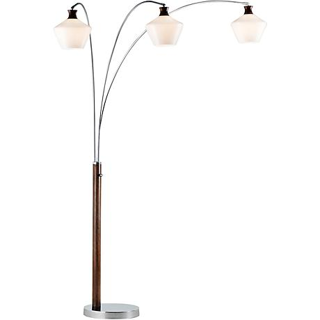 Nova Rumba Opal Glass 3-Light Medium Wood Arc Floor Lamp