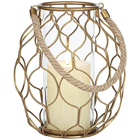 Gold Net Basket Pillar Candleholder