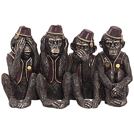 "Monkeys in a Row 6"" High Figurine"