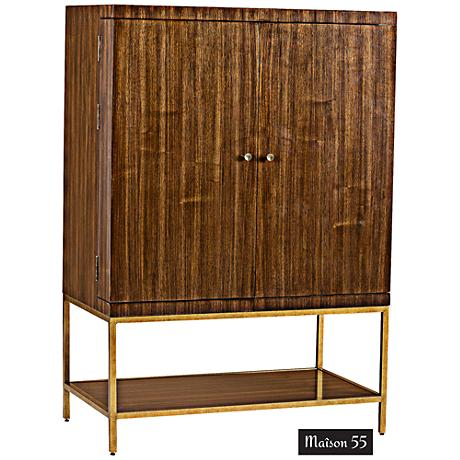Miles Walnut and Iron 2-Door Bar Cabinet
