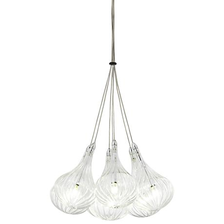 "Claud Chrome 13 1/2""W LED Ribbed Glass Multi Light Pendant"