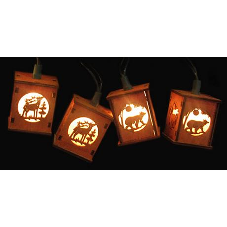 Deer Bear Winter Wooden Red Lantern 10-Light String Light
