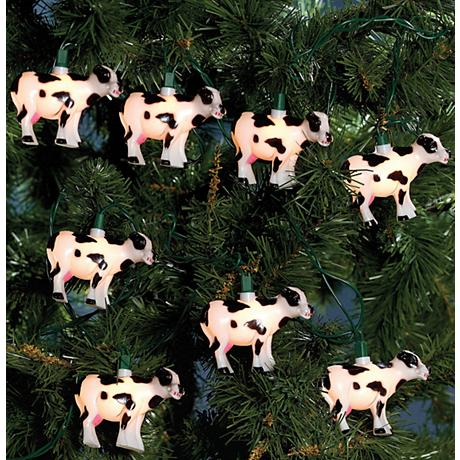 Black Spot Barnyard Bovine Milk Cow 10-Light String Light