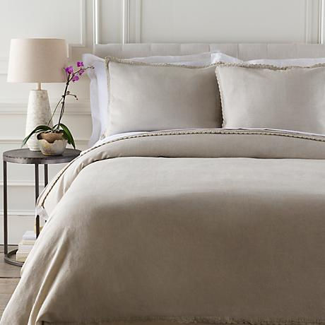 Surya Audrey Solid Neutral Linen Cotton Duvet Set
