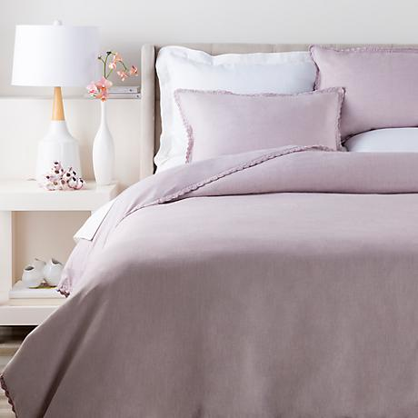 Surya Evelyn Purple Linen Duvet Set