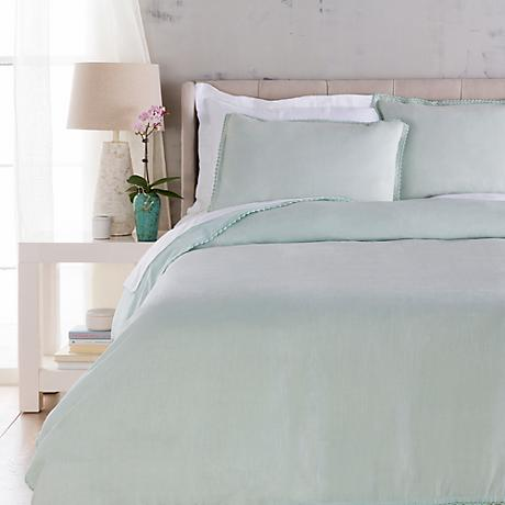 Surya Evelyn Blue Linen Duvet Set