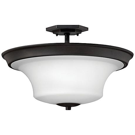 "Hinkley Brantley 17""W Textured Black Ceiling Light"