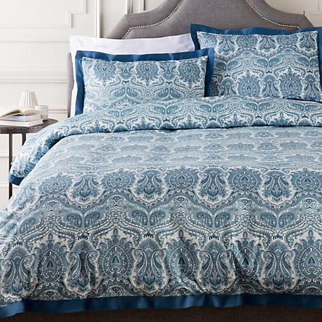 Surya Griffin Blue Damask Cotton Duvet Set