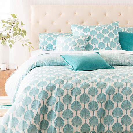 Surya Kabuki Fan Teal Blue Cotton Duvet Set